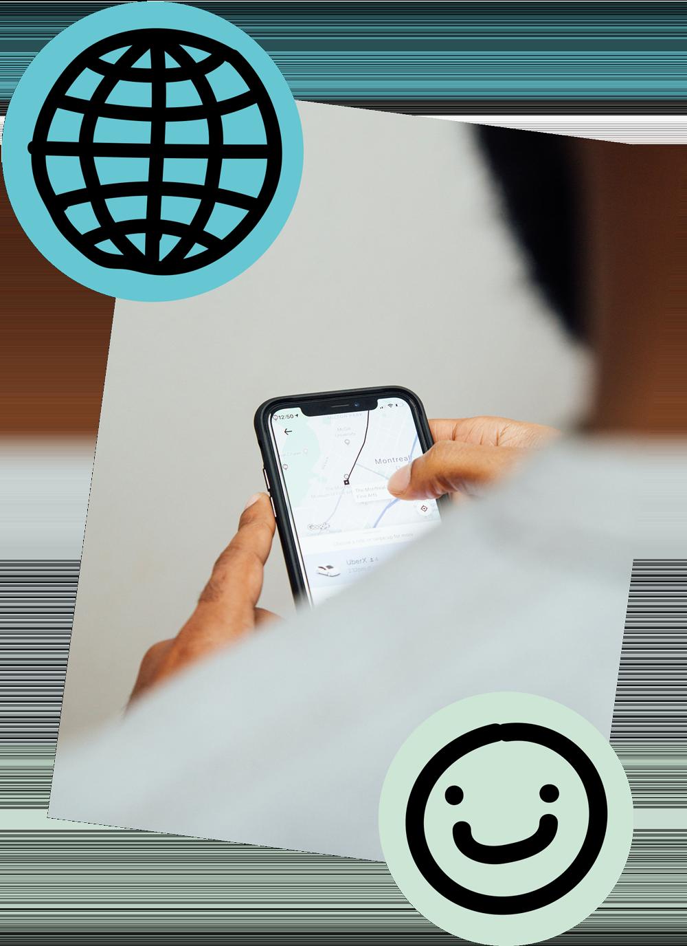 Eine Person am Iphone, um das Bild herum schweben Illustration einer Weltkugel und eines Smileys